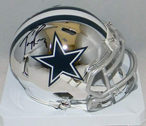(Tony Romo Autographed Signed Memorabilia Dallas Cowboys Chrome Speed Mini Helmet - JSA Authentic)