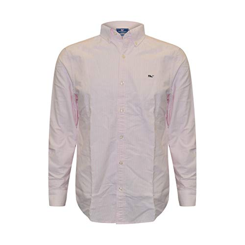 Classic Shirt Mens Stripe (Vineyard Vines Mens Long Sleeve Button Down Whale Shirt Oxford (Flamingo Stripe, Large))