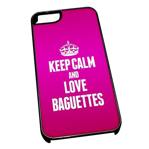 Nero Cover per iPhone 5/5S 0793Pink Keep Calm e Love Baguette