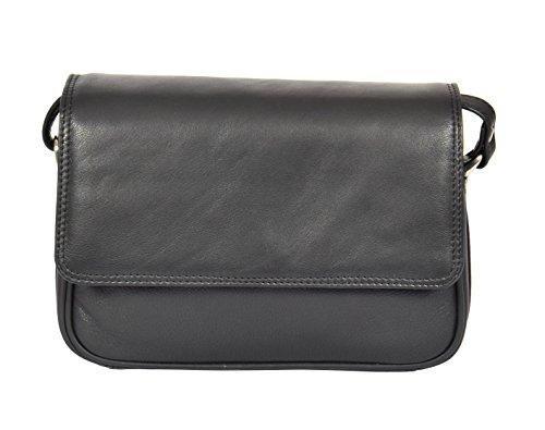 Shoulder Body Bag Leather H87 Cross Womens Messenger Black Real wq4HEfv