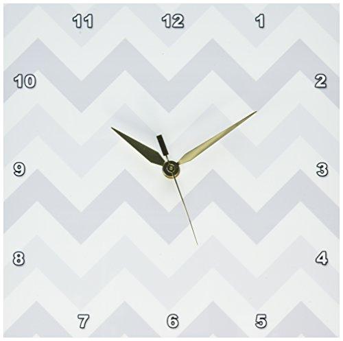 3dRose dpp_179805_1 Light Shades of Grey Chevron Zig Zag Pattern-Pastel Gray Zigzags-Wall (Gray Clock Plate)