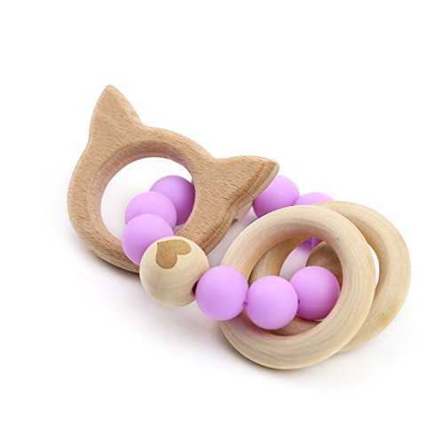 Cat Toy Organic (Natural Teething Pacifier Bracelet Organic Teether Ring Baby Silicone Accessory Original Wood Teether Shower Gift -Cat Purple)