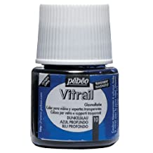 Pebeo Vitrail Stained Glass Effect Glass Paint 45-Milliliter Bottle, Deep Blue