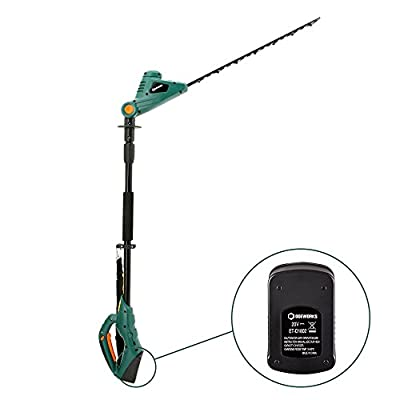 "DOEWORKS 20V Li-ion 2 in 1 Multi-Angle Battery Trimmer, Cordless Electric Pole Hedge Trimmer with 20"" blades, Battery & Charger Included"