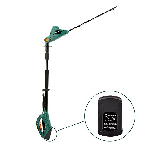 DOEWORKS 20V Li-ion 2 in 1 Multi-Angle Battery Trimmer, Cordless Electric Pole Hedge Trimmer with 20″ Blades, Battery & Charger Included