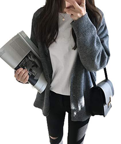 [エージョン] レディース カーディガン ニット コート 春服 秋服 Vネック ゆったり 長袖 ゆったり 無地 シンプル 大きいサイズ ファッション