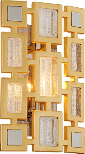 Corbett Lighting 223-11 Motif - Wall Sconce - Gold Leaf Finish with Polished Stainless Accents - Clear Handmade Italian - Contemporary Sconce Italian