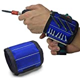 Luckypeople Magnetic Wristband Hand Tools Magnets Holding Screws Nails Drill Bits or Other Small Tools,Adjustable Wrist Strap for Holding,Embedded 10 Strong Magnets for DIY(Blue)