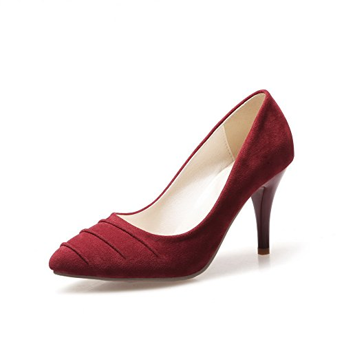 BalaMasa da donna slip-on high-heels Solid Imitated scamosciata pumps-shoes, Rosso (Red), 38