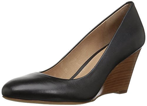 206 Collective Women's Battelle Closed-Toe Covered Wedge Pump, Black Leather, 11 B -