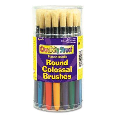 (Creativity Street Colossal Brush, Natural Bristle, Round, 30/Set)