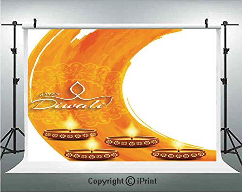 - Diwali Decor Photography Backdrops Modern Graphic Diwali Festive Celebration Themed Candles on Paisley Backdrop Print,Birthday Party Background Customized Microfiber Photo Studio Props,10x6.5ft,Orange