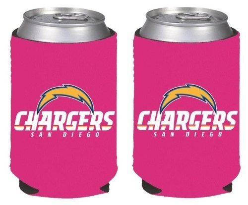 NFL Football Womens Hot Pink Can Kaddy Collapsible Koozie Holder 2-Pack - Pick Team! (San Diego -
