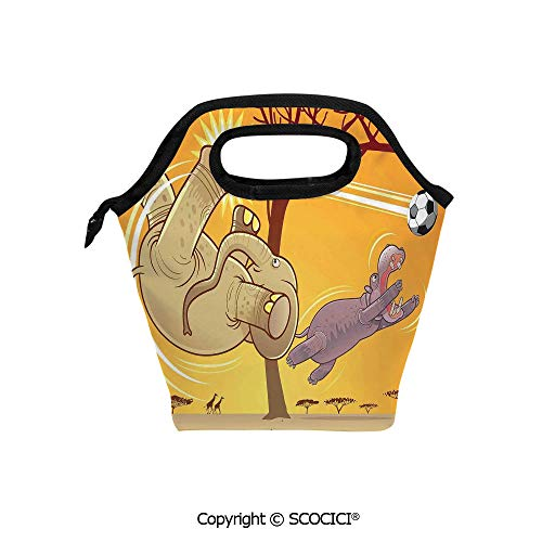 Portable thickening insulation tape Lunch bag Elephant and Hippo Playing Football Cartoon Print Fantastic Animal Home Decor Decorative for student cute girls mummy bag.