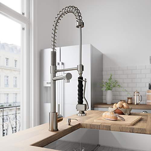 VIGO VG02007STK2 Zurich Single Handle Pull-Down Sprayer Kitchen Sink Faucet with Soap Dispenser, Centerset Single Hole Faucet, Commercial-Style Design, Premium Stainless Steel ()
