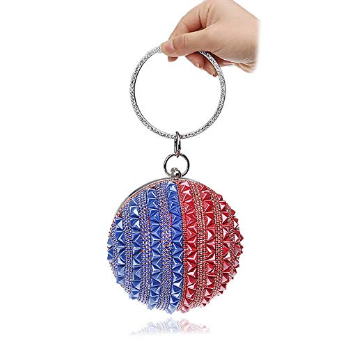 Ring Purse Handbag Bag Woman Round Style 3 Evening Clutch Handle Rhinestone Ball xwpaTXcqUR