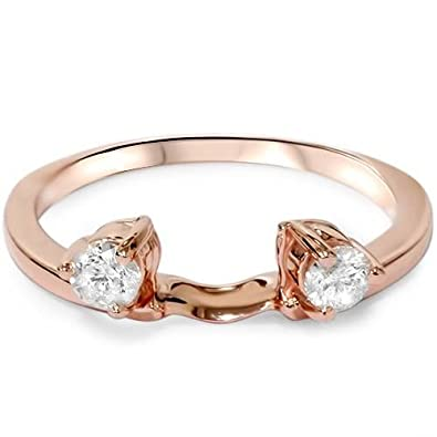 Amazon Com 1 4ct Diamond Guard Ring Enhancer 14k Rose Gold Jewelry