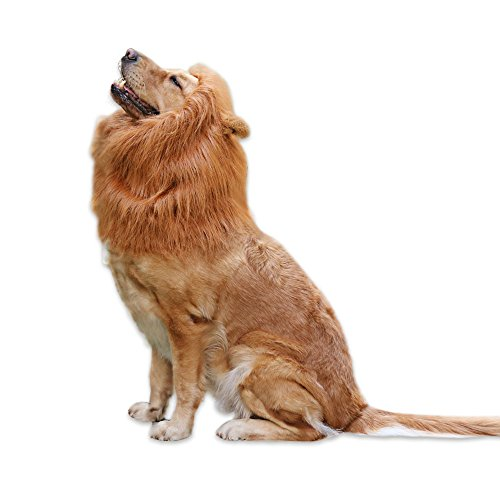 Lion Mane for Dog, Siliware Fancy Dog Wig,Most Attractive Halloween&Christmas cutest costume for dogs, Comfortable,Washable,Adjustable for Medium to Large Dogs (Brown)