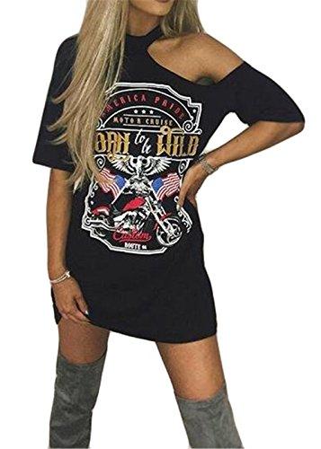 Women Fashin Short Sleeve Punk Printed Hip Hop Tunic Tops Midi Dress T Shirts