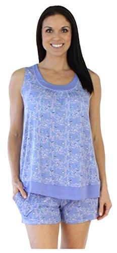 bSoft Women's Sleepwear Bamboo Jersey Tank and Shorts Pajama Pj Set, Bird Trellis (BSBJ1915-1019-MED)