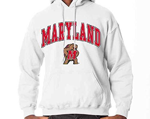 Campus Colors Maryland Terrapins Arch & Logo Gameday Hooded Sweatshirt - White, Small