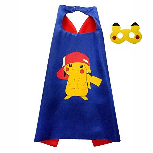Original Superman Costume (FASHION ALICE Kids Pokemon Pikachu Poke Ball CAPE & MASK SET,Halloween Costume Cloak for Child (Pikachu Blue))