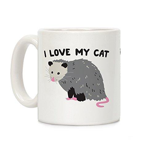LookHUMAN I Love My Cat Opossum White 11 Ounce Ceramic Coffee Mug