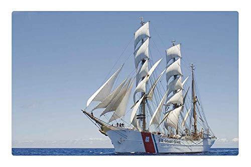 Ship Three Masted (Indoor Floor Rug/Mat (23.6 x 15.7 Inch) - Ship Cutter Three Masted Barque Full Sail Water 2)