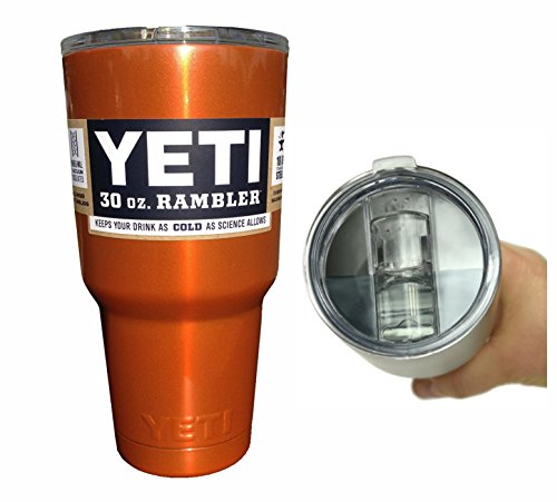YETI Coolers Custom Powder Coated 30 Ounce (30oz) (30 oz) Rambler Tumbler with Exclusive Spill Resistant Lid (Orange Shimmer)
