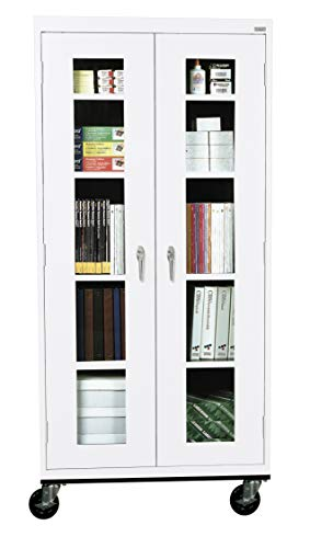 (Sandusky Lee TA4V361872-22 Elite Series Transport Mobile Clear View Storage Cabinet, White)
