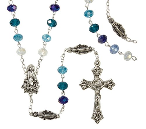 Catholic Marian Blue Rosary 6mmx8mm crystal beads in jewelry box- Multi toned blue beads Virgin Mary figurine mysteries rosary (Medallion Bead Necklace)