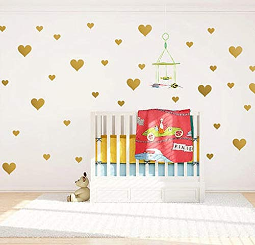 (Removable Gold Hearts Wall Decals for Kids Room Decoration +