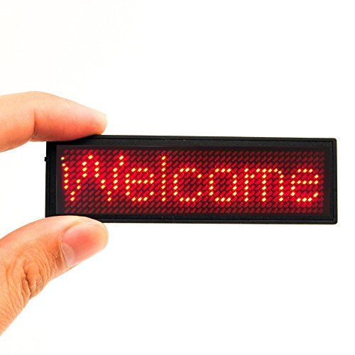 Red LED Name Tag, 44x11 Pixels Rechargeable LED Business Card Screen with USB Programming Digital Sign Display for Restaurant Shop Exhibition Nightclub Hotel Digital Sign