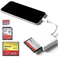 CF Card Kartenleser für iPhone/iPad/iPad Pro,Lighting auf SD / TF / CF Card Reader Kartenlesegerät Kamera Adapter Viewer für iPhone XS/XS MAX/X/ 8 Plus/ 8/7 Plus/7/6s Plus/6s/6Plus/iPad Mini/Air,Keine App erforderlich, Plug & Play