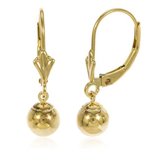 14k Yellow Gold 6mm Dangle Ball Drop Leverback Earrings (GO-572)