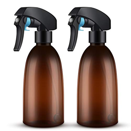 2Packs Empty Amber Spray Bottle, 10oz/300ml 360°All-angle Spraying Refillable Water Mist Sprayer, Plastic Spray Bottle for Cleaning Solution, Hair Spray, House Plant, Ironing ()