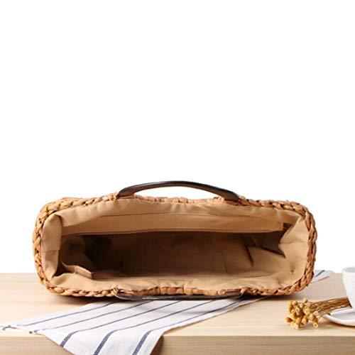 Brown Main À color Sakuldes Rotin En Brown La Sac Paille Tressée 8aqwzx