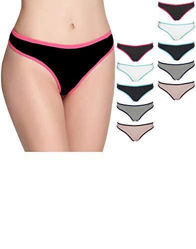 Emprella Womens Underwear, 10 Pack Thongs for Women Cotton Seamless Ladies Thong Panties