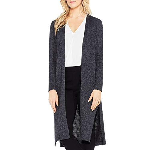 (VINCE CAMUTO Women's Long Sleeve Open Front Texrured Cardigan, Medium Heather Grey,)