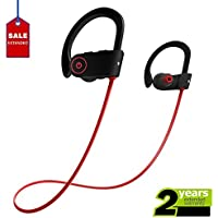 Bluetooth Headphones,RocVox Wireless Bluetooth Headset with Noise Cancelltion for Sports Gym Running Crossfit Exercise Cycling Compatible with Iphone Samsung Smart Phone (Black/Red)