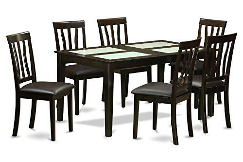 East west furniture caan7g cap lc 7 piece dining table set for 7 piece dining room sets cheap