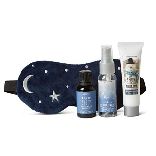 (Tri-coastal Design Sleep Kit Gift Set for Women Winter Dreams Spa Set with Body Lotion, Black Sleep Mask, Sleep Essential Oil, and Pillow Spray - Beauty Kits with Skin Care Products and Travel Mask)