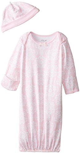 Little Me Girls' 2-Piece Gown & Hat Set, Pink Damask, 0-3 Months (Set Gown Piece 3)