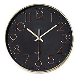 MixArt Modern Gold Wall Clock, Silent Non-Ticking Quartz Decorative Wall Clock Battery Operated for Home Office School Bedroom Living Room(Champagne Gold)