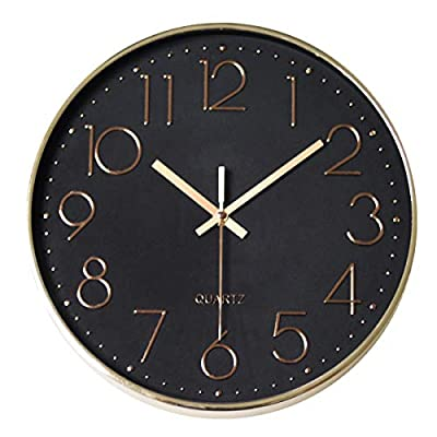 MixArt 12 inch Modern Gold Large Decorative Wall Clock, Silent Non-Ticking Quartz Wall Clock Battery Operated for Home Office School Bedroom Living Room - Silent Wall Clock: Non-ticking sweep hands to ensure silence & accurate time, afford a good sleeping or working environment. It is suitable for office, classroom, bedroom, kitchen and any room in your home. Large Wall Clock: Black dial wall clock with large numbers are clear to read and front glass cover guarantees perfect view. Luxury Wall Clock: Champagne gold color electroplated on frame and numbers with black background makes the clock a special wall decor. - wall-clocks, living-room-decor, living-room - 41cli1rolML. SS400  -