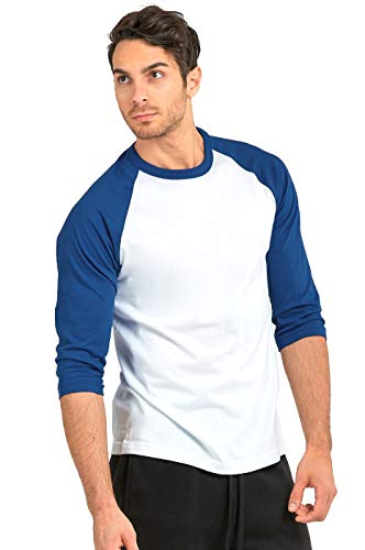 TOP PRO Men's 3/4 Sleeve Casual Raglan Jersey Baseball Tee Shirt (2XL, RBL/WHT)