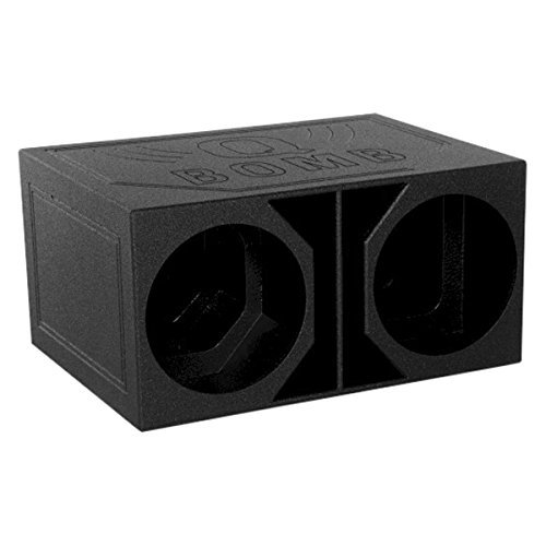 Q Power QBOMB15VL Dual 15-Inch SPL Vented Speaker Box with Durable Bed Liner Spray