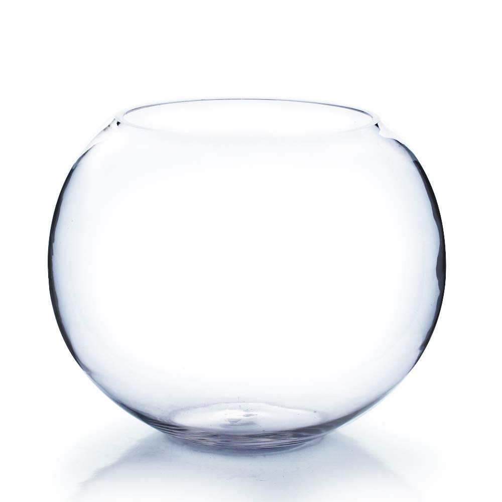 """WGVI Clear Round Bubble Bowl Glass Vase/Candle Holder. Diameter: 10"""". Height: 8"""". Open: 6.5"""". Wholesale Lot (4 Pieces) VBW1008"""