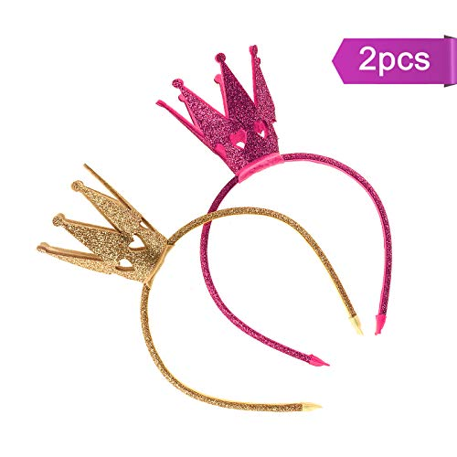 U_star 2 pcs Girls Shiny Crown Hairband Princess Crown Headband for Princess Party,Baby Shower Party,Birthday Party and Christmas Day