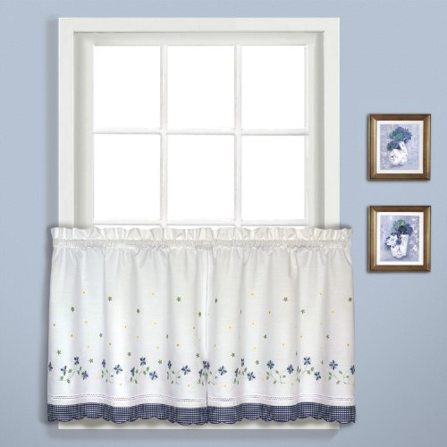 United Curtain Gingham Embroidered Kitchen Tiers, 60 by 36-Inch, Blue, Set of 2